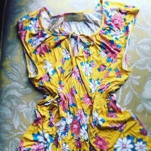 women's shirt yellow, floral, modcloth